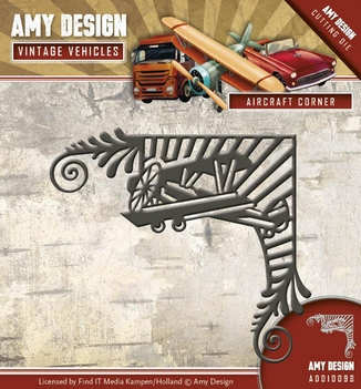 Amy Design Snijmal Vintage Vehicles Aircraft Corner ADD10098  per stuk