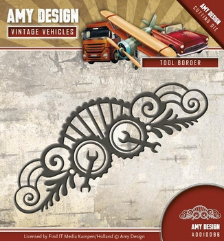 Amy Design Snijmal Vintage Vehicles Tool Border ADD10096  per stuk
