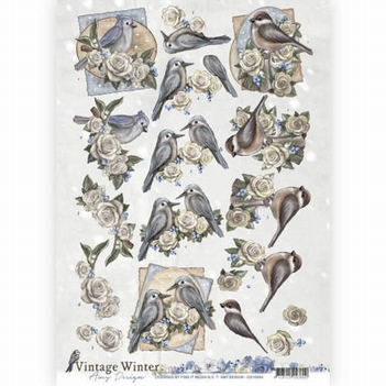 Amy Design knipvel Vintage Winter - Winter Birds CD10984  per vel