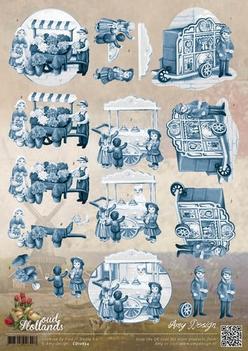Amy Design knipvel Oud Hollands Delftsblauw CD10654  per vel