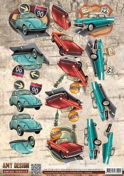 Amy Design knipvel Vintage Vehicles - Cars CD10846  per vel