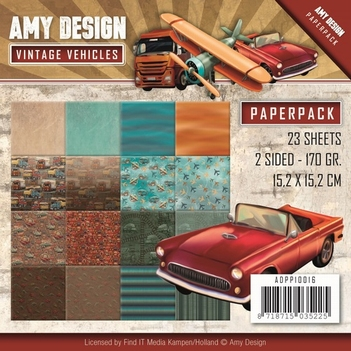 Amy Design Paper pack - Vintage Vehicles ADPP10016  per stuk