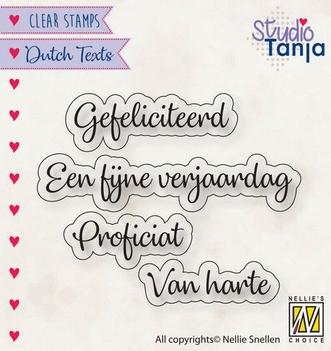 Nellie Snellen Clear Stamp Dutch Texts Proficiat DTCS027