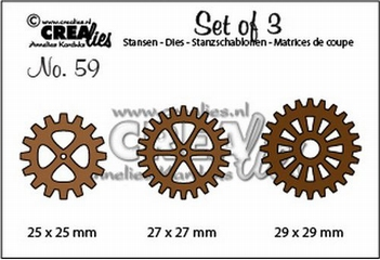 Crealies Set of Three nummer 56 Gears CLSET59