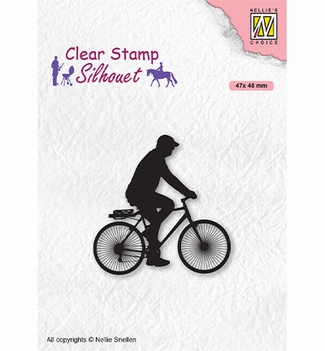 Nellie Snellen Silhouette Clear Stamp Cyclist SIL072