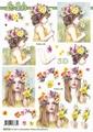 Le Suh Knipvel Meisje met Bloemen 8215715 per vel
