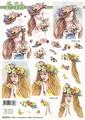 Le Suh Knipvel Dame met Bloemen en Vlinders 8215718 per vel