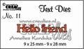 Crealies Tekstmal Hello friend CLTD11