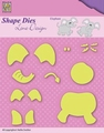 Nellie Snellen Shape Die Lene Design Build Up Elephan SDL031