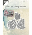 Joy Crafts Snijmal Sketch Art Vlinders, Roos 6002/1134 per stuk