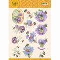 Jeanine's Art Knipvel Buzzing Bees Purple Flowers CD11337