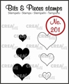 Crealies Clear Stamp Bits & Pieces Hearts CLBP201