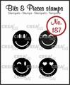 Crealies Clear Stamp Bits & Pieces Happy Faces CLBP187