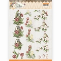 Precious Marieke knipvel Spring Delight Red Flowers CD11433