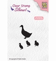 Nellie Snellen Silhouette Clear Stamp Duck with Chick SIL059