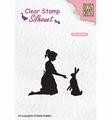 Nellie Snellen Silhouette Clear Stamp Girl with Hare SIL061