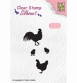 Nellie Snellen Silhouette Clear Stamp Rooster, Hen SIL060
