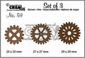Crealies Set of Three nummer 56 Gears CLSET59
