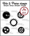 Crealies Clear Stamp Bits & Pieces Gears Small Solid CLBP211