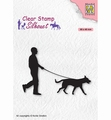 Nellie Snellen Silhouette Clear Stamp Man with Dog SIL070