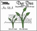 Crealies Duo Dies nr. 58A Leaves Mirror Image CLDD58A